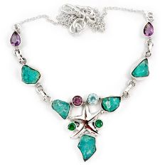 Blue apatite rough russian nano emerald 925 silver star fish necklace j10338