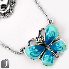 BLUE ENAMEL BUTTERFLY CHARM MARCASITE 925 SILVER NECKLACE CHAIN JEWELRY G44846