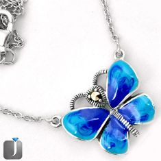 BLUE ENAMEL BUTTERFLY CHARM MARCASITE 925 SILVER NECKLACE CHAIN JEWELRY G44848