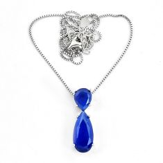 9.47cts blue sapphire (lab) pear 925 sterling silver necklace jewelry c3474
