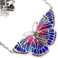 BUTTERFLY ENAMEL MARCASITE 925 STERLING SILVER CHAIN NECKLACE JEWELRY H20778