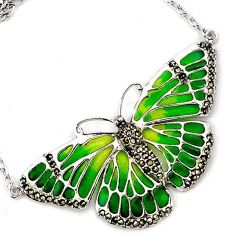 BUTTERFLY GREEN ENAMEL MARCASITE 925 STERLING SILVER CHAIN NECKLACE H20761