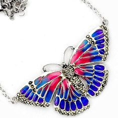 BUTTERFLY MULTI COLOR ENAMEL MARCASITE 925 STERLING SILVER CHAIN NECKLACE H20764