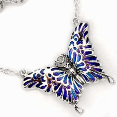 CLASSIC MULTI COLOR ENAMEL BUTTERFLY 925 STERLING SILVER CHAIN NECKLACE H20768