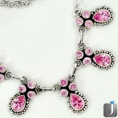 13.47cts CLASSIC PINK KUNZITE 925 STERLING SILVER NECKLACE JEWELRY G16831