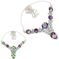 Color changeable alexandrite (lab) amethyst 925 silver butterfly necklace h90952
