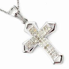 CROSS NATURAL WHITE DIAMOND 925 STERLING SILVER PENDANT CHAIN JEWELRY H32218