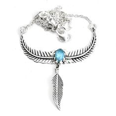 2.12cts dreamcatcher natural blue aquamarine 925 sterling silver necklace p41970