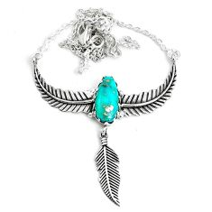 6.78cts dreamcatcher natural green kingman turquoise 925 silver necklace p41975