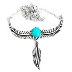 3.99cts dreamcatcher natural green kingman turquoise 925 silver necklace p41977