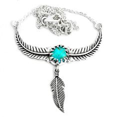 4.41cts dreamcatcher natural green kingman turquoise 925 silver necklace p41979