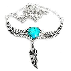 5.01cts dreamcatcher natural green kingman turquoise 925 silver necklace p41980