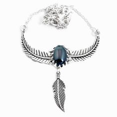 5.56cts dreamcatcher natural rainbow obsidian eye 925 silver necklace p41966