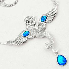 ELITE BLUE AUSTRALIAN OPAL ANGLE WINGS 925 STERLING SILVER CHAIN NECKLACE H21000