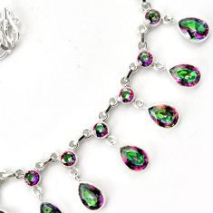 EXCELLENT MULTICOLOR RAINBOW TOPAZ 925 STERLING SILVER NECKLACE JEWELRY G68959