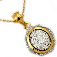 EXOTIC NATURAL PLATINUM DRUZY 925 STERLING SILVER 14K GOLD PENDANT CHAIN H32229