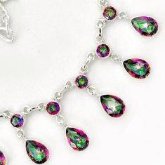 EXQUISITE MULTICOLOR RAINBOW TOPAZ 925 STERLING SILVER NECKLACE JEWELRY G68960