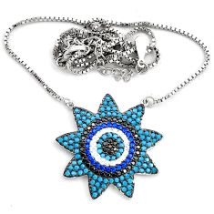 3.30cts fine blue turquoise sapphire (lab) 925 sterling silver necklace c4478