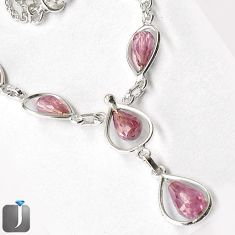 38.42cts GORGEOUS PINK KUNZITE 925 STERLING SILVER NECKLACE JEWELRY G16891