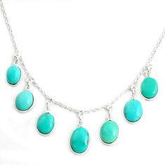 16.28cts green arizona mohave turquoise 925 sterling silver necklace p43330