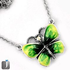 GREEN ENAMEL BUTTERFLY CHARM MARCASITE 925 SILVER NECKLACE CHAIN JEWELRY G44845