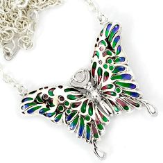 GREEN PURPLE ENAMEL 925 STERLING SILVER BUTTERFLY CHAIN NECKLACE JEWELRY H6589
