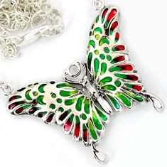 GREEN RED YELLOW ENAMEL 925 SILVER BUTTERFLY CHAIN NECKLACE JEWELRY H6585