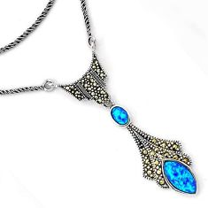 INCREDIBLE BLUE AUSTRALIAN OPAL MARCASITE 925 SILVER CHAIN NECKLACE H20990