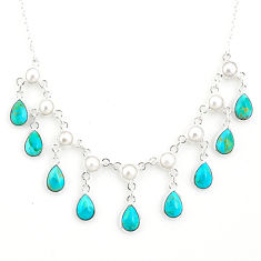 925 silver 21.47cts blue arizona mohave turquoise pear pearl necklace r77383