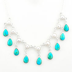 925 silver 21.88cts blue arizona mohave turquoise pear pearl necklace r77412