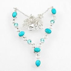 925 silver 17.38cts blue sleeping beauty turquoise topaz necklace jewelry d44532