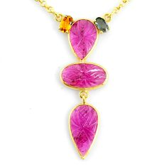 12.07cts carving natural watermelon tourmaline 14k gold collector necklace r71485