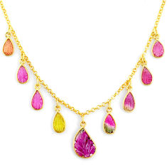 14.40cts carving natural watermelon tourmaline 14k gold collector necklace r71491
