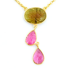 11.57cts carving natural watermelon tourmaline 14k gold collector necklace r71504