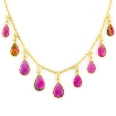17.69cts carving natural watermelon tourmaline 14k gold collector necklace r71515