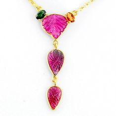 12.60cts carving natural watermelon tourmaline 14k gold handmade necklace r71525