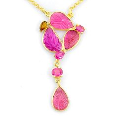 14.45cts carving natural watermelon tourmaline 14k gold collector necklace r71531
