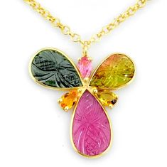 13.15cts carving natural watermelon tourmaline 14k gold collector necklace r71536