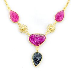 14.40cts carving natural watermelon tourmaline 14k gold collector necklace r71552