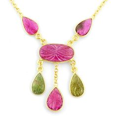14.90cts carving natural watermelon tourmaline 14k gold collector necklace r71568