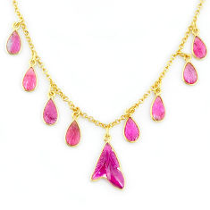 15.02cts carving natural watermelon tourmaline 14k gold collector necklace r71572