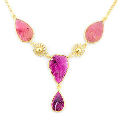15.55cts carving natural watermelon tourmaline 14k gold collector necklace r71576