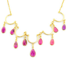 20.86cts carving natural watermelon tourmaline 14k gold collector necklace r71580