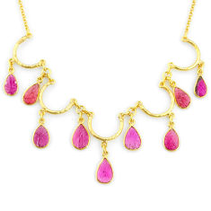 20.37cts carving natural watermelon tourmaline 14k gold collector necklace r71600