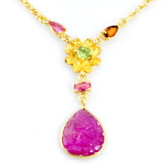 925 silver 7.11cts carving natural watermelon tourmaline gold necklace r71604