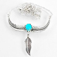 925 silver 2.31cts dreamcatcher blue arizona mohave turquoise necklace r67835