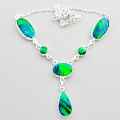 925 silver 22.84cts fine northern lights aurora opal emerald necklace t45244