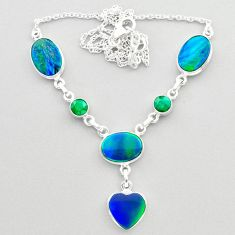 925 silver 21.37cts fine northern lights aurora opal emerald necklace t45249
