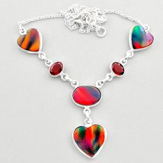 925 silver 22.84cts fine volcano aurora opal garnet oval necklace jewelry t45258