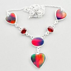925 silver 22.84cts fine volcano aurora opal garnet oval shape necklace t45254